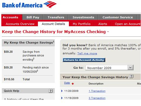 Bank of America matches savings!
